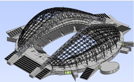 Overall look of the stadium's BIM model